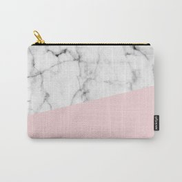 Real White Marble Half Powder Blush Pink Carry-All Pouch