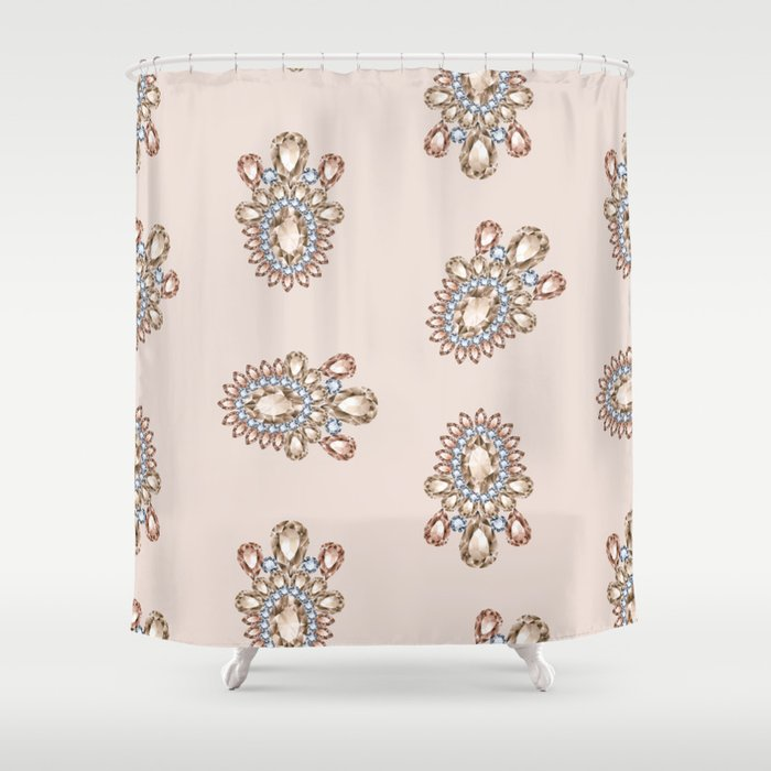 Jewelbox: Morganite Brooch in Light Blush Shower Curtain