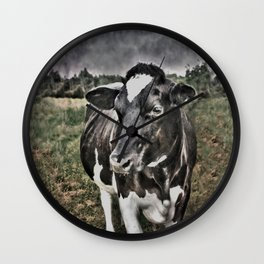 Melancholic Black White Dutch Cow Wall Clock