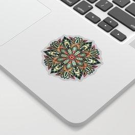 Tribal Geometric brown and green Mandala Sticker