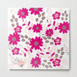 Big Flowers in Hot Pink, Grey and Taupe Metal Print