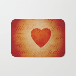 Romantic Heart and Words Bath Mat