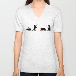 Cats Black on White Unisex V-Neck