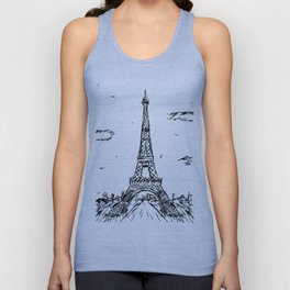 Paris Eiffel Tower Drawing Unisex Tanktop