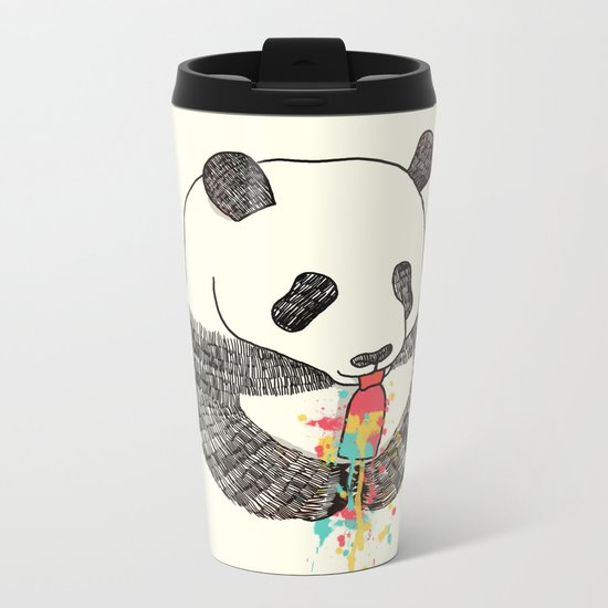 Panda Loves Ice Cream Metal Travel Mug