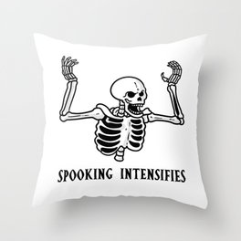 Spooky Amplifies Skeletal Choleric Throw Pillow