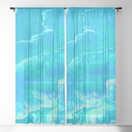 Azure abstract bright blue  Sheer Curtain