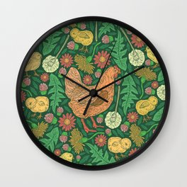 Orange hen with yellow chickens and dandelions on green background Wall Clock