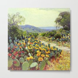 Yellow and Red Cactus Blossoms in the Desert Landscape painting by Robert Julian Onderdonk Metal Print