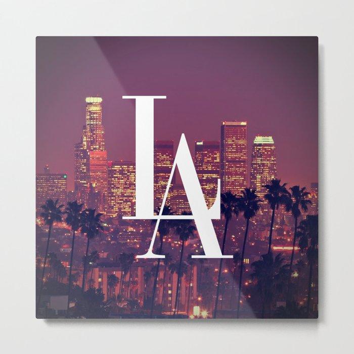 Downtown LA Vintage Skyline Typography Metal Print