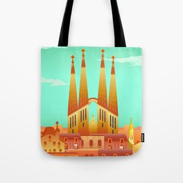 Barcelona Travel Poster Tote Bag