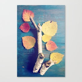 Autumn Birch Leaves and Twigs Canvas Print