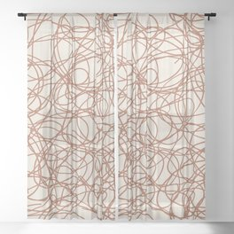 Cavern Clay SW 7701 Thick Hand Drawn Scribble Mosaic Pattern Creamy Off White SW7012 Sheer Curtain