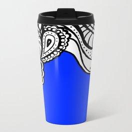 Blue Royal Doodle Artwork Metal Travel Mug