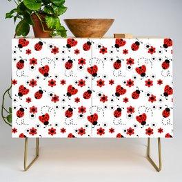 Red Ladybug Floral Pattern Credenza