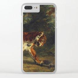 """Eugène Delacroix """"Tigre jouant avec une tortue"""" Clear iPhone Case"""