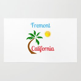 Fremont California Palm Tree and Sun Rug