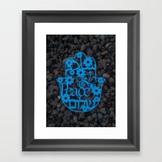 Paper cut -Peace in 3 languages Hebrew, Arabic and English Framed Art Print