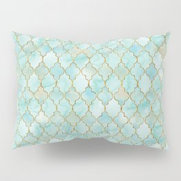 Luxury Aqua and Pink and Gold oriental pattern Pillow Sham