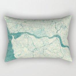 Porto Map Blue Vintage Rectangular Pillow