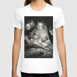The Nativity, Virgin Mary with Infant Jesus surrounded by Angels T-shirt