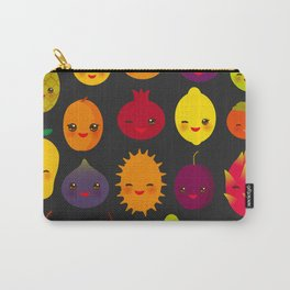 kawaii fruit Pear Mangosteen tangerine pineapple papaya persimmon pomegranate lime Carry-All Pouch