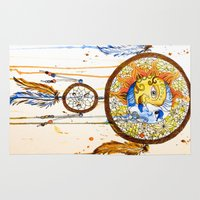 sun and moon Area & Throw Rugs featuring Sun and Moon Dreamcatcher by Lauren Ramer