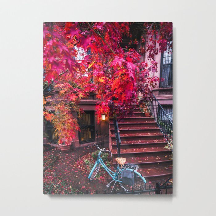 New York City Brooklyn Bicycle and Autumn Foliage Metal Print
