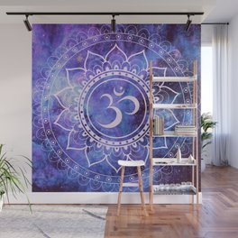Om Mandala Purple Lavender Blue Galaxy Wall Mural
