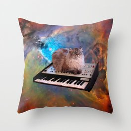 Cat on a Keyboard in Space                                                       Throw Pillow