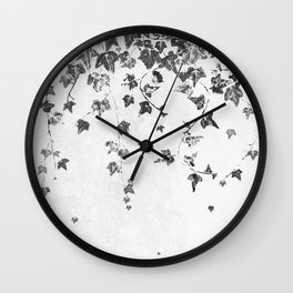 Hand Printed Black and White Trailing Ivy Wall Clock