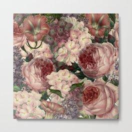 Vintage & Shabby Chic Pink Dark Floral Roses Lilacs Flowers Watercolor Pattern Metal Print