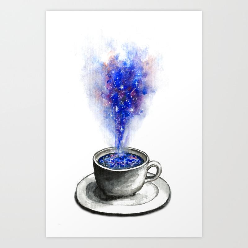 A Cup Of Galaxy Art Print by David_art PRN7138257
