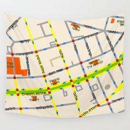 Tel Aviv map - Rothschild Blvd. Hebrew Wall Tapestry