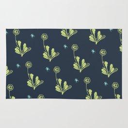 Spider Daisies (green + navy) Rug