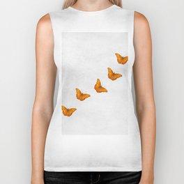 Beautiful butterflies on a textured white background Biker Tank