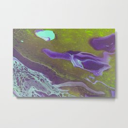Fluid Art Acrylic Painting, Pour 32, Green, Purple, & Turquoise Blended Color Metal Print