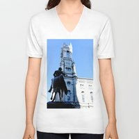 philadelphia V-neck T-shirts featuring Onward (Philadelphia) by Julie Maxwell