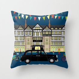 Art Print of Liberty of London Store - Night with Black Cab Throw Pillow