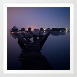 Houses on the lake Art Print