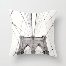 New York, NYC, Brooklyn bridge on black and white Throw Pillow