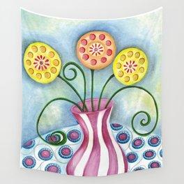 Lollipop Flowers Wall Tapestry