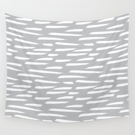 Paintbrush Stripes - White on Gray Wall Tapestry