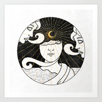 Moonlit Statuettes Inktober :: Ruined Materials Art Print