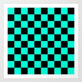 Black and Aqua Checkerboard Pattern Art Print