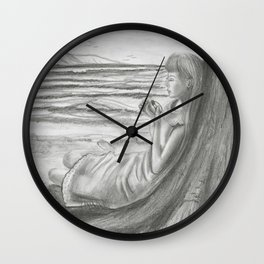 A Cool, Quieting Thought (Girl by tree on the beach) Wall Clock