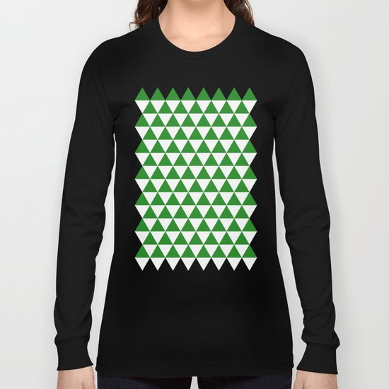 Triangles (Forest Green/White) Long Sleeve T-shirt