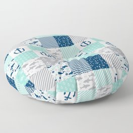 Nautical anchors sharks whales quilt cheater quilt nursery pattern art Floor Pillow