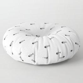 Black & White Fish Skeleton Pattern Design Floor Pillow