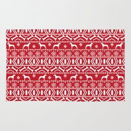 Great Dane fair isle christmas holiday red and white minimal pattern gifts for dog lover Rug
